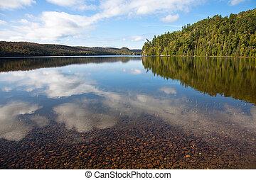 woda, Jezioro, Perspektywa, jasny, Stolarz