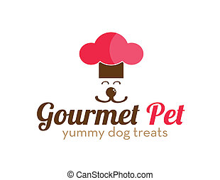 Gourmet Pet Treats Logo - Cute logo of dog in chef's hat