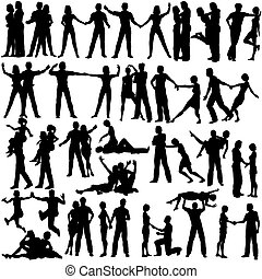 Couples - Set of editable vector silhouettes of man and...