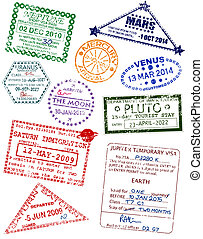 Planet visas - Set of editable vector visas from different...