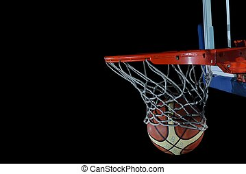 basketball ball and net on black background - Basketball...