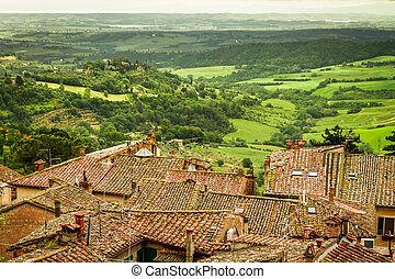 View of the valley spring in Volterra, Italy