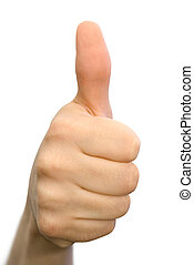Well done! - Encouraging hand gesture, isolated on white