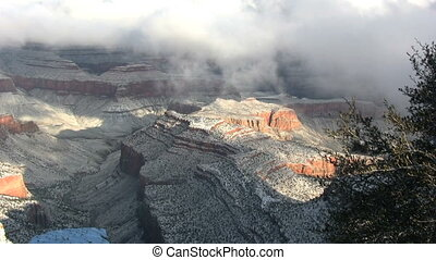 Snow in the Grand Canyon - the beauty of a snow covered...