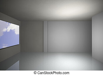 white empty interior with sky