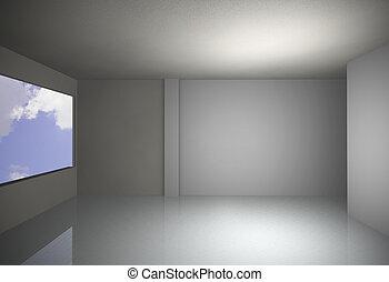 white empty interior with sky
