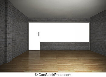 Empty room with brick wall and wood floor