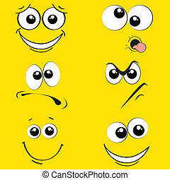 expressions - different expression face on yellow background