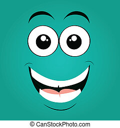 happy face on blue background