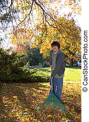Raking Leaves Teen Boy with Rake - A teen boy with a rake...