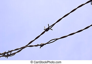 barbwire on blue sky background