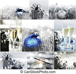 silver christmas - collage of silver christmas cards