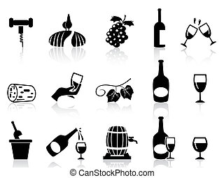 grape wine icons set - isolated grape wine icons set on...