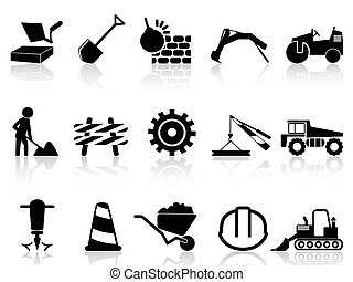heavy construction icons set - isolated heavy construction...