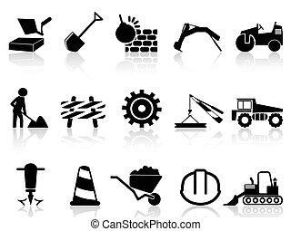 heavy construction icons set - isolated heavy construction...