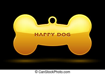 Dog Bone - Gold Bone for dog collar on black background