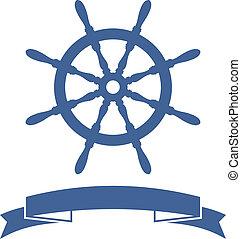 rueda, barco, bandera
