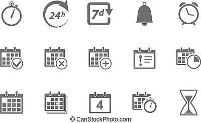 Time and Calendar Icons - Vector Time and Calendar Icons...