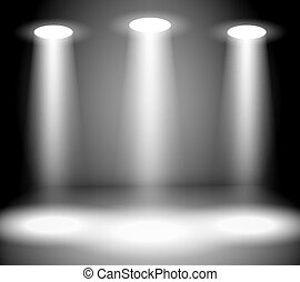 Reflector Lights in Empty room Vector Illustration