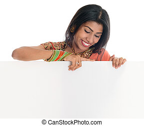 Indian woman holding blank card