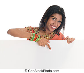 Indian woman holding blank white card
