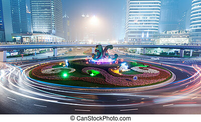 the night view of the lujiazui financial centre in shanghai...