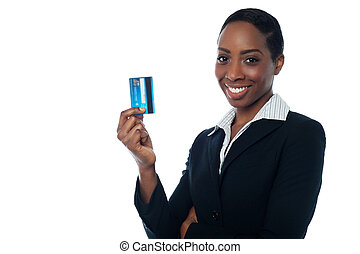 Businesswoman displaying credit card - Corporate lady...