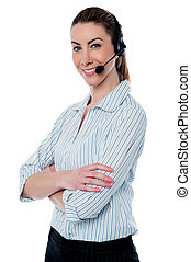 Female tech support executive