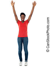 Excited woman raising her arms up - Stylish middle aged...