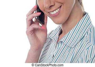 Cropped image of a woman using cellphone