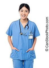 confiant, femme, docteur, Monde Médical, uniforme