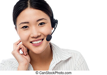 Cute asian female as help desk operator - Customer support...