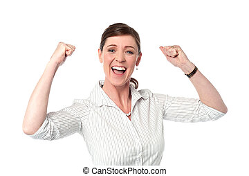 Excited corporate lady with clenched fists - Professional...