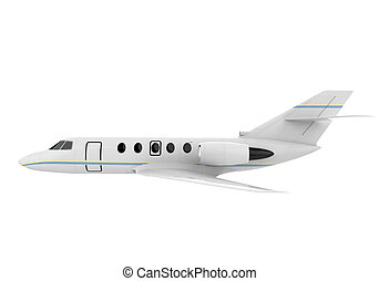 Airplane Jet Isolated on white background. 3D render