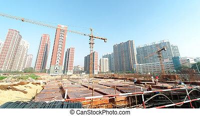 建築物, 起重機, 建設, 站點
