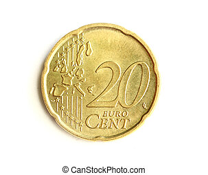 20 cent - Euro cent coin. Isolated on white