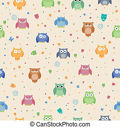 Vector Pattern with Owls