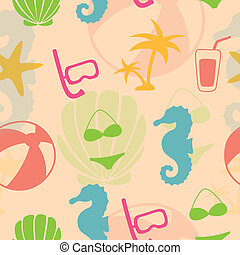 Vector Pattern with Summer Elements - Seamless Vector...