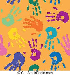 Vector Pattern with Hand Prints - Seamless Vector Pattern...