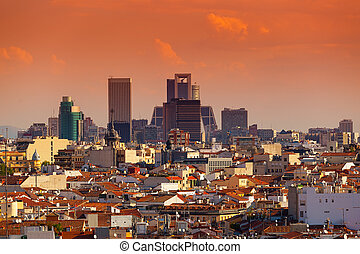Madrid Skyline with skyscrapers at Sunset, spain