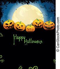 Vector Halloween Background with Pumpkins - Vector...