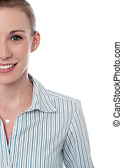 Cropped image of a smiling young woman - Happy young...