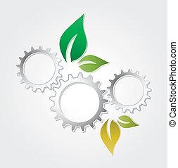 abstract eco gear leaf presentation