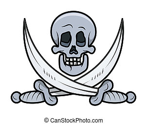 Jolly Roger - Skull Vector Cartoon - Drawing Art of Cartoon...