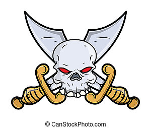 Crossed Sword Skull Tattoo Vector - Drawing Art of Cartoon...