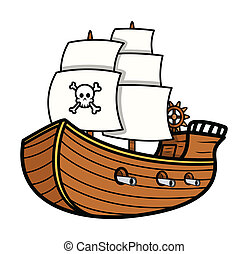 Pirate Ship Vector - Drawing Art of Cartoon Pirate Ship...