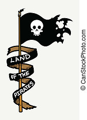 Land of The Pirates - Flag Vector - Drawing Art of Cartoon...