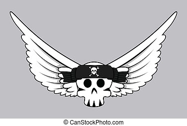 Flying Jolly Roger Skull Vector