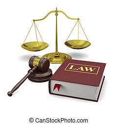 Legal education - Gavel, scale and law book, isolated on...