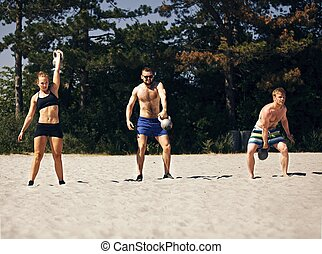 Crossfitting on the Beach